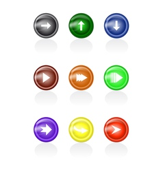 Set of arrow glass buttons vector image