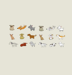 Set of cartoon dogs happy pets zoo vector