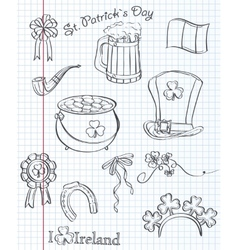 Set of different items for St Patricks Day Black vector image