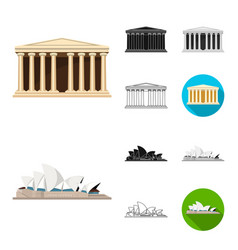 sights of different countries cartoonblackflat vector image