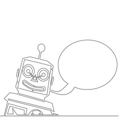 single continuous line chatbot speech vector image
