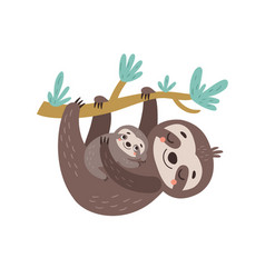 Sloths mom and baby vector