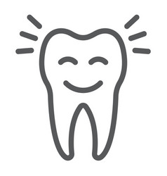 Smiling tooth line icon stomatology vector