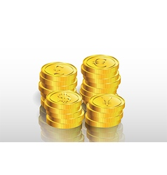 Stack of gold coin background vector image