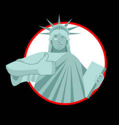 statue of liberty winks thumbs up landmark vector image