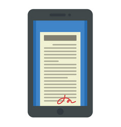 Tablet signature icon flat style vector