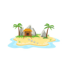 tropical island cottage in ocean small island vector image