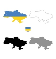 Ukraine country black silhouette and with flag on vector