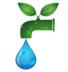 Water tap and a drop of water eco symbol vector