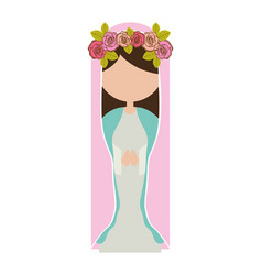 White background of faceless virgin with crown of vector