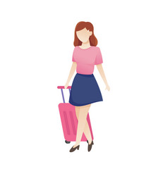women with luggage vector image