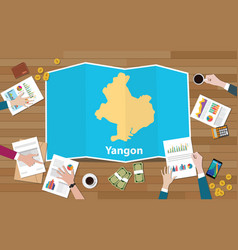 Yangon rangoon myanmar city region economy growth vector