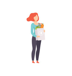 Young woman holding paper bag with healthy food vector