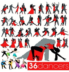36 dancers silhouettes set vector image