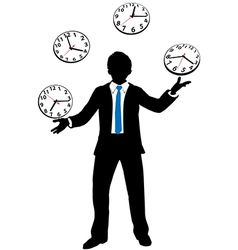 Busy business person juggles time clocks vector image