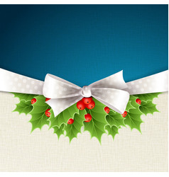 christmas background with ribbon and holly vector image vector image
