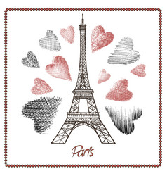 eiffel tower and heart vector image vector image