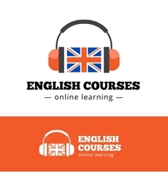 english courses logo concept with british vector image vector image