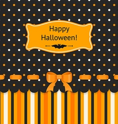 Halloween card with bow on polka dots background vector