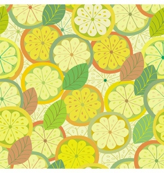 lemon seamless pattern with leaves vector image