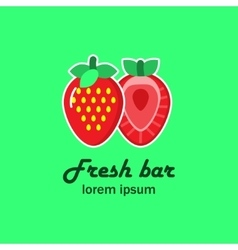 The logo with the image of two strawberries vector image