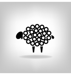 black silhouette of sheep on a light background vector image vector image