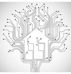 Circuit board house vector