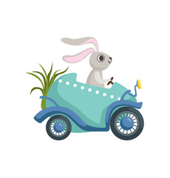 Cute little bunny driving easter blue car egg vector