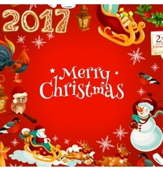 Merry Christmas poster of holiday symbols vector image vector image