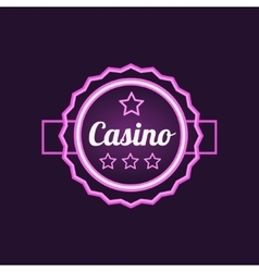 Double frame casino purple neon sign vector