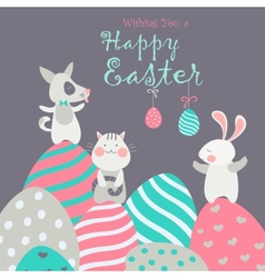Easter animals with easter eggs vector image vector image