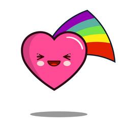 heart cartoon character icon kawaii with rainbow vector image vector image