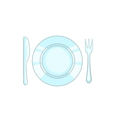Plate with knife and fork icon cartoon style vector image