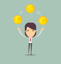 young business woman holding money vector image