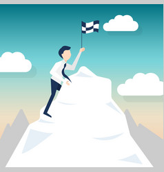 a man climbs for chasing the flag vector image