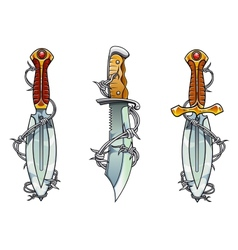 Cartoon ancient daggers with barbed wire vector image