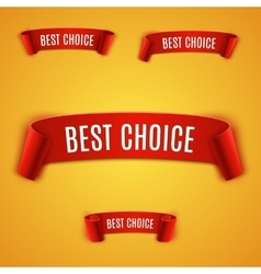 Set Red realistic Ribbon vector image