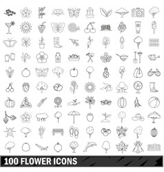 100 flower icons set outline style vector image