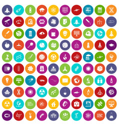 100 space icons set color vector