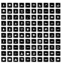 100 world icons set grunge style vector