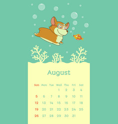 2018 august calendar with welsh corgi dog vector