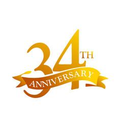 34 year ribbon anniversary vector