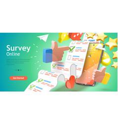 3d conceptual online survey vector image