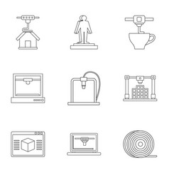 3d printer construct icon set outline style vector