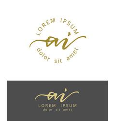 a i initials monogram logo design dry brush vector image