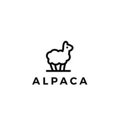 alpaca llama logo icon line outline monoline style vector image