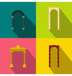 Arch banner set flat style vector image