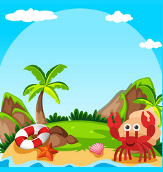 Background scene with hermit crab on island vector