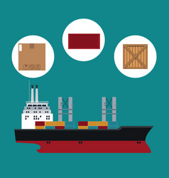 Big ship cargo shipping container cardboard box vector