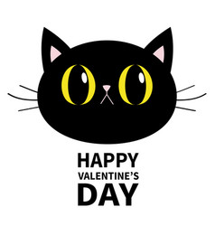 Black cat round head face icon happy valentines vector